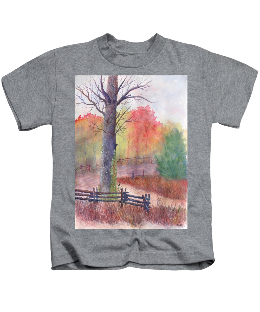 Fall Kids T-Shirt featuring the painting Joy of Fall by Ben Kiger