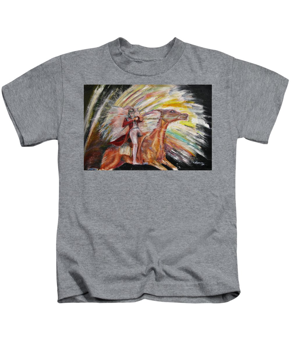 Horses Kids T-Shirt featuring the painting Jump The Rainbow by Tom Conway