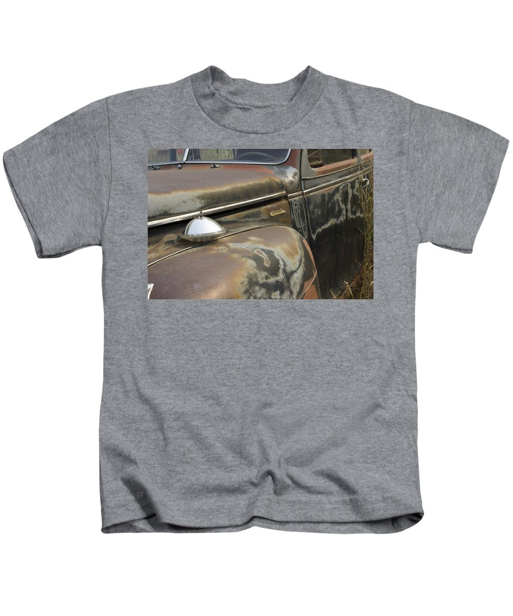 Kids T-Shirt featuring the photograph Junkyard Series Old Plymouth by Cathy Anderson