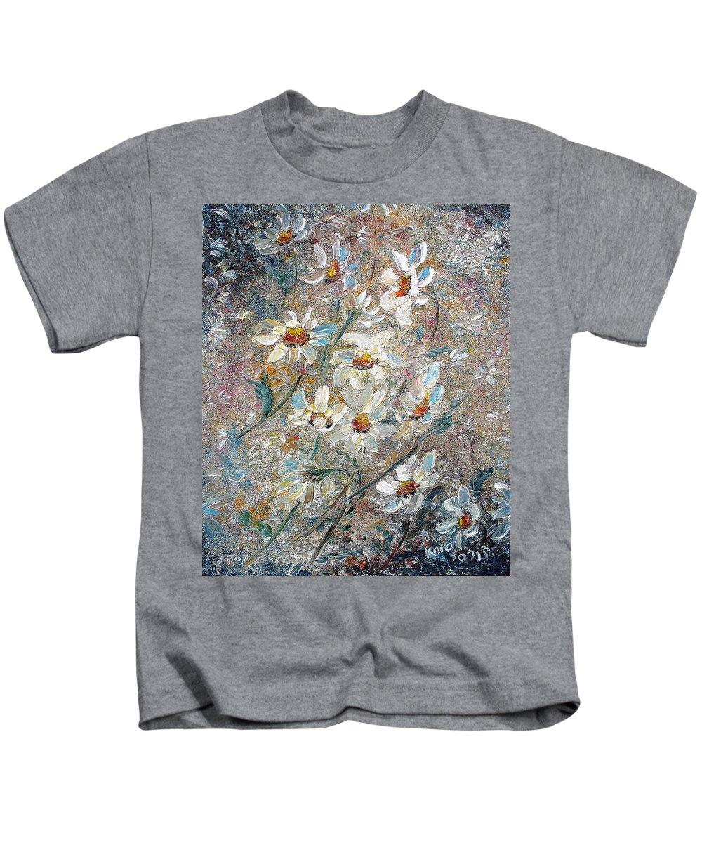Daisies Painting Abstract Flower Painting Botanical Painting Bloom Greeting Card Painting Kids T-Shirt featuring the painting Just Dasies by Karin Dawn Kelshall- Best