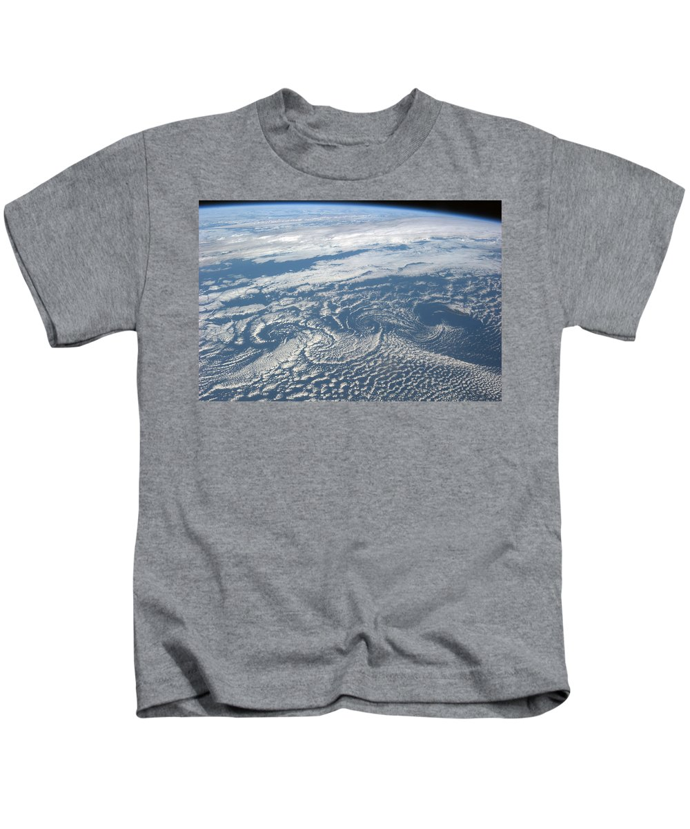 Astronomy Kids T-Shirt featuring the photograph Karman Vortex Cloud Streets From Space by Science Source