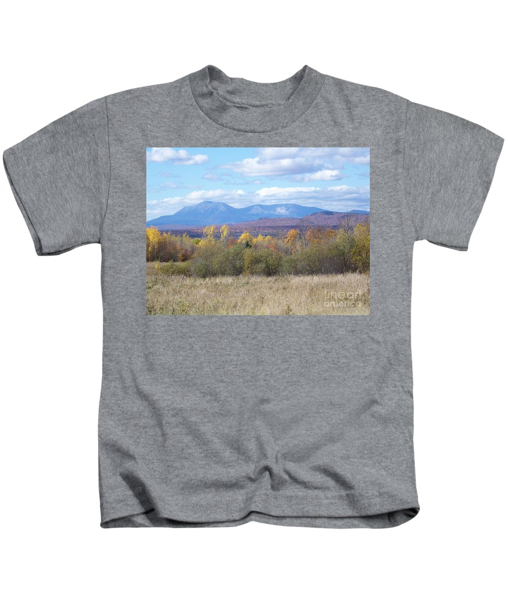 Mount Katahdin Kids T-Shirt featuring the photograph Katahdin From Staceyville 3 by Joseph Marquis