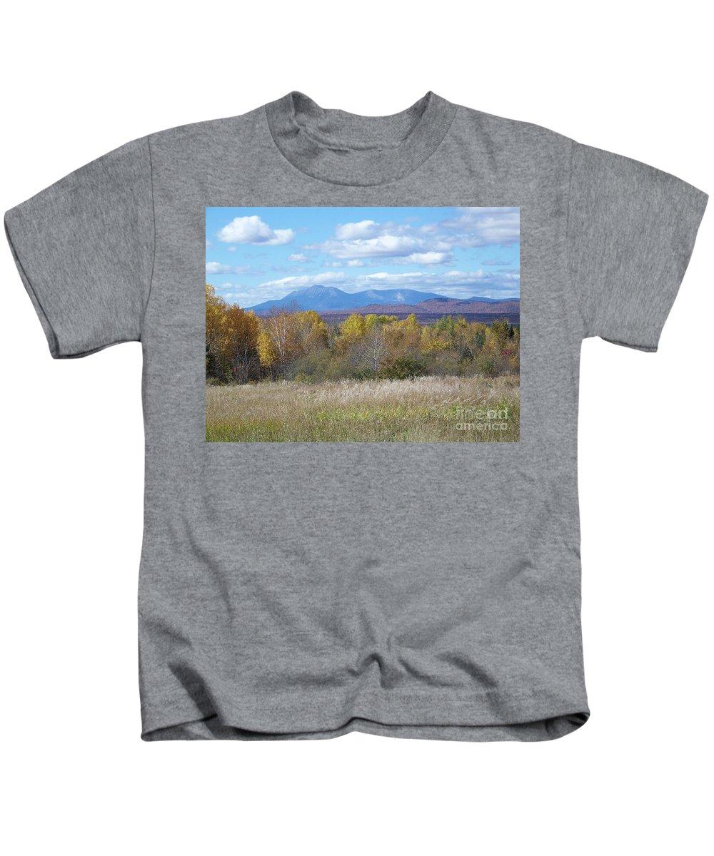 Mount Katahdin Kids T-Shirt featuring the photograph Katahdin From Staceyville 6 by Joseph Marquis