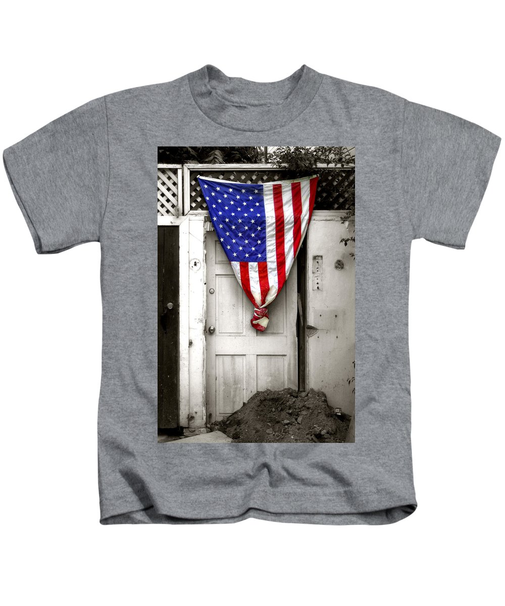 United States Flag Kids T-Shirt featuring the photograph Key West Usa by Doug Heslep