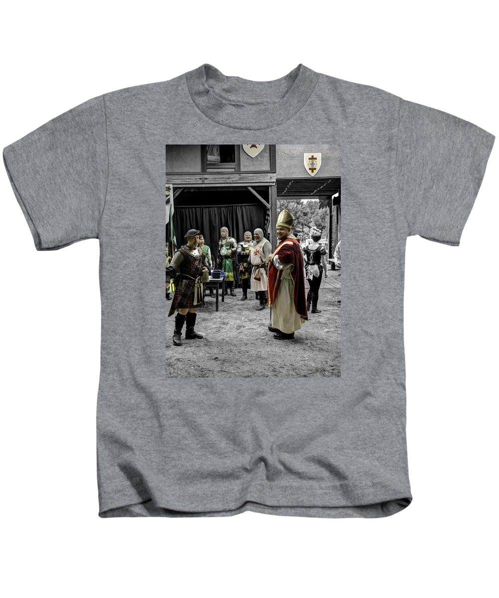 King Macbeth Kids T-Shirt featuring the photograph King Macbeth Of Scotland With The Bishop by John Straton