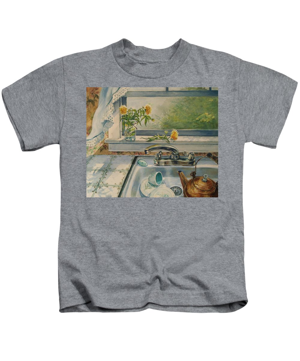 Yellow Flowers Kids T-Shirt featuring the painting Kitchen Sink by Joy Nichols