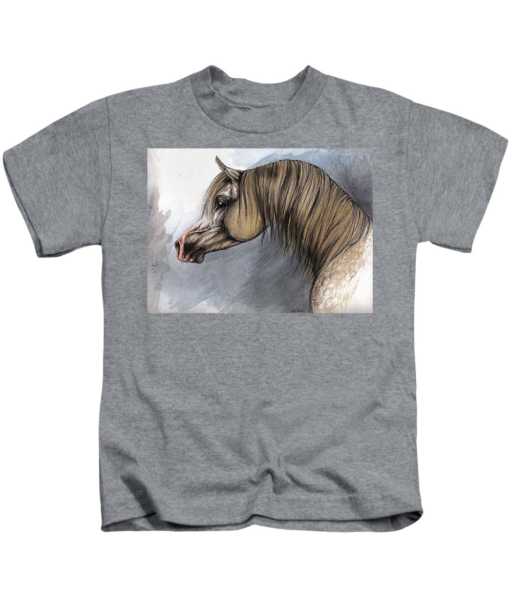 Horse Kids T-Shirt featuring the painting Kordelas by Angel Ciesniarska