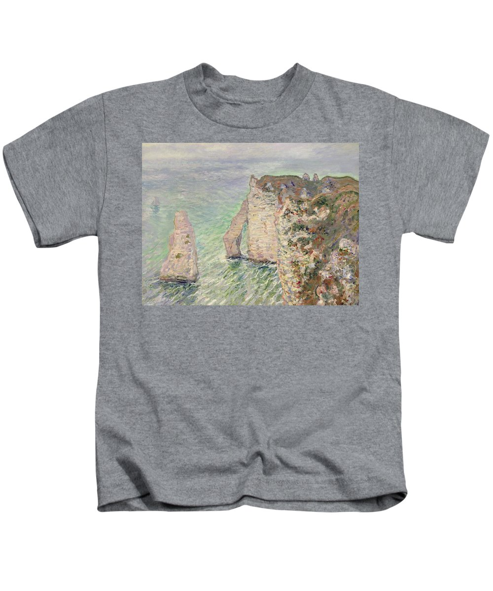 French Kids T-Shirt featuring the painting Laiguille And The Porte Daval  Etretat by Claude Monet