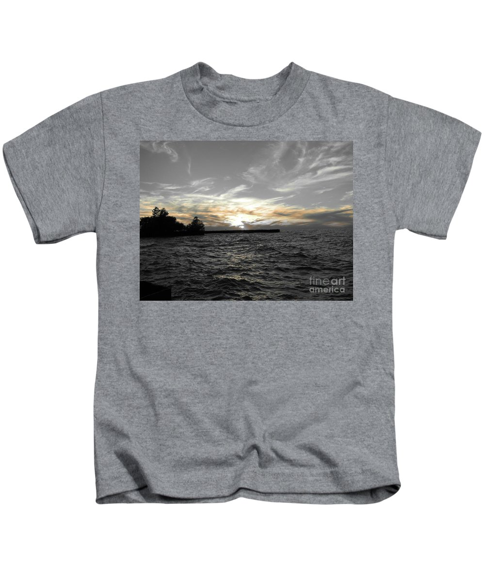 Lake Erie Kids T-Shirt featuring the photograph Lake Erie Lights by Michael Krek