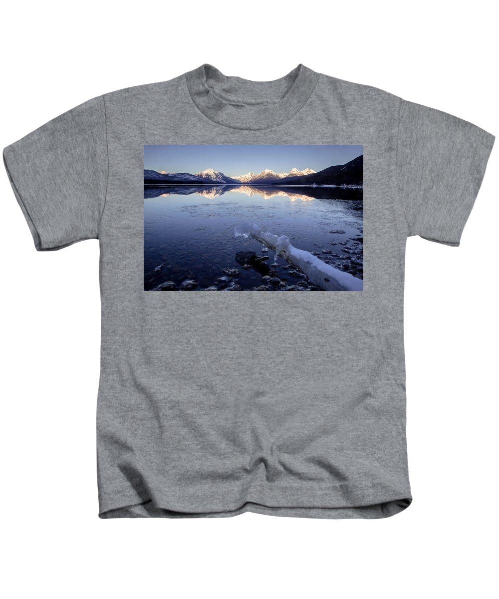 Lake Mcdonald Kids T-Shirt featuring the photograph Lake Mcdonald Winter by Jack Bell