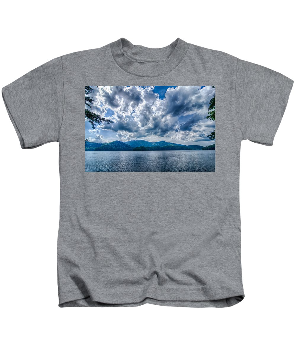 Colors Kids T-Shirt featuring the photograph Lake Santeetlah In Great Smoky Mountains Nc by Alex Grichenko