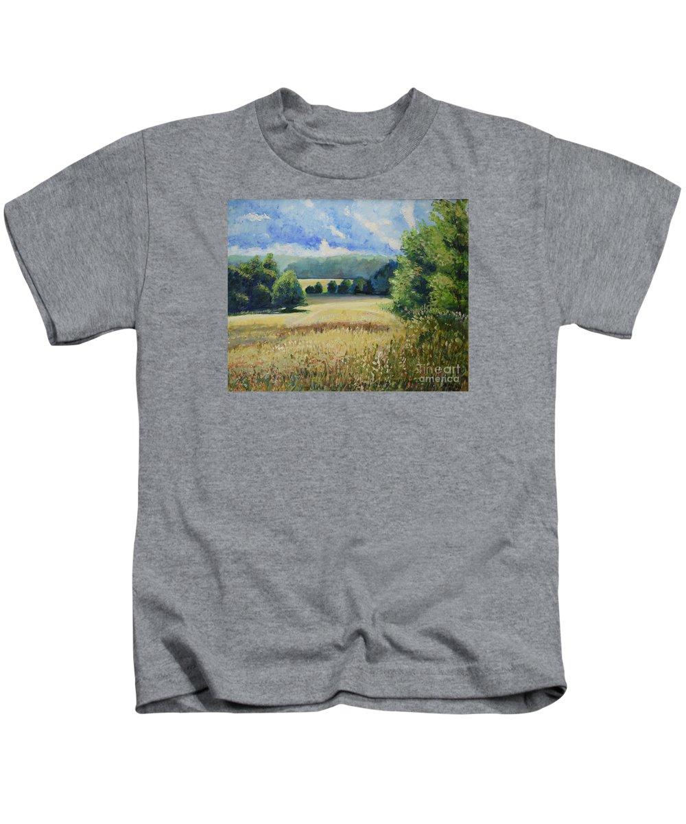 Landscape Kids T-Shirt featuring the painting Landscape Near Russian Border by Raija Merila