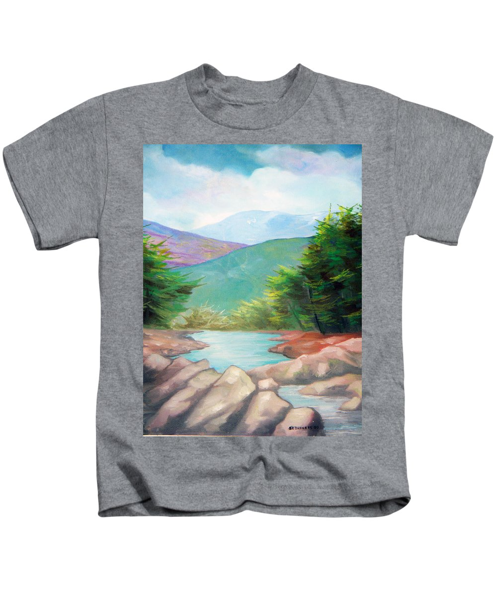 Bayou Kids T-Shirt featuring the painting Landscape with a creek by Sergey Bezhinets