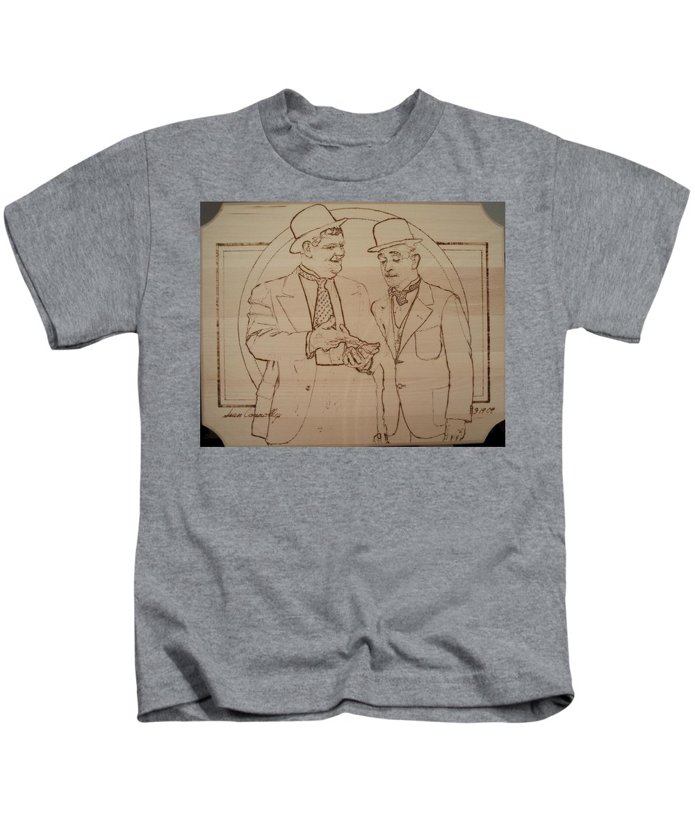 Pyrography Kids T-Shirt featuring the pyrography Laurel And Hardy - Thicker Than Water by Sean Connolly