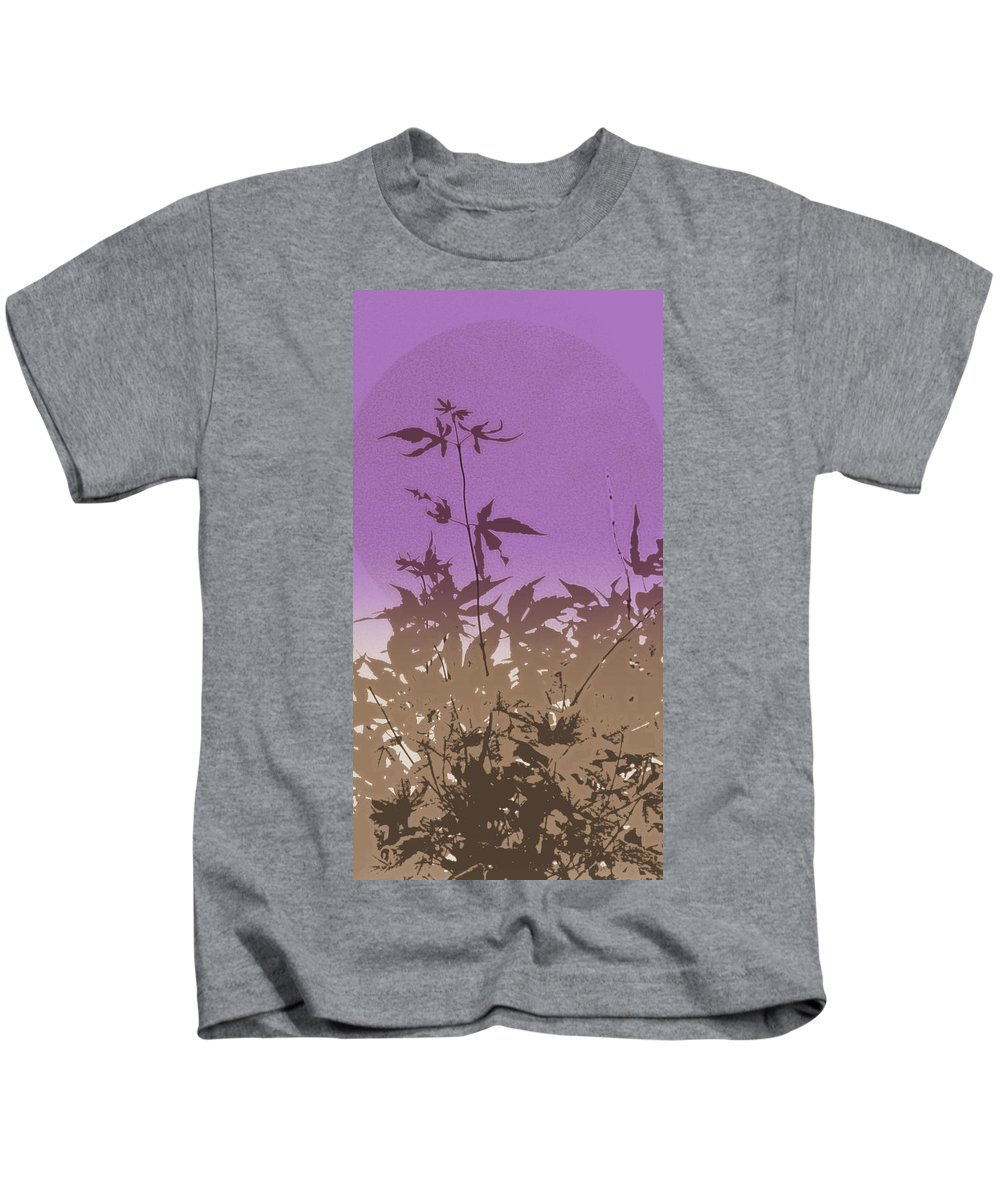 Leaves Kids T-Shirt featuring the photograph Purple Haiku by Kathy Barney