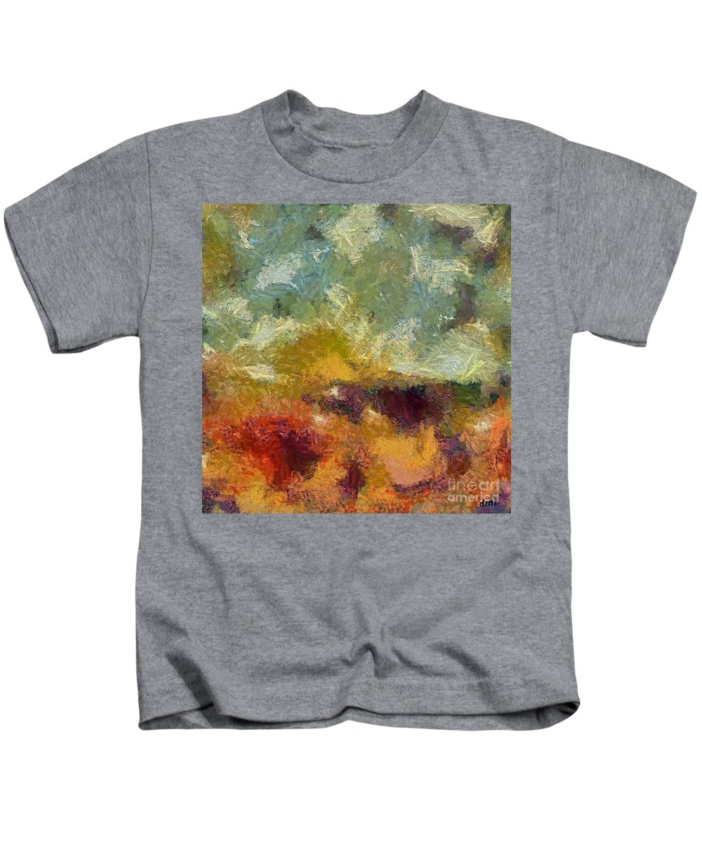 Abstract Art Kids T-Shirt featuring the painting Lazy Afternoon by Dragica Micki Fortuna