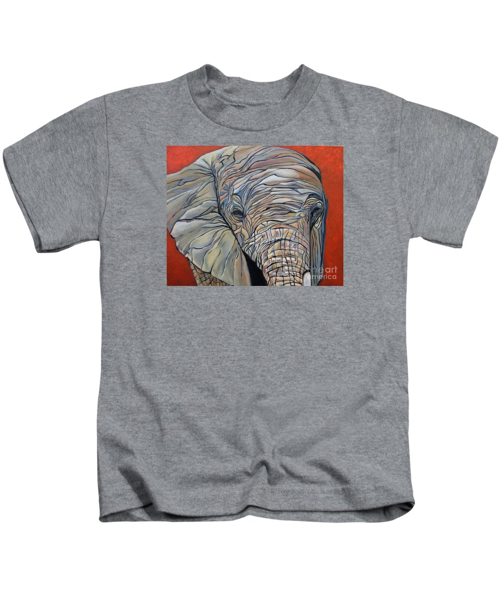 Elephant Kids T-Shirt featuring the painting Lazy Boy by Aimee Vance