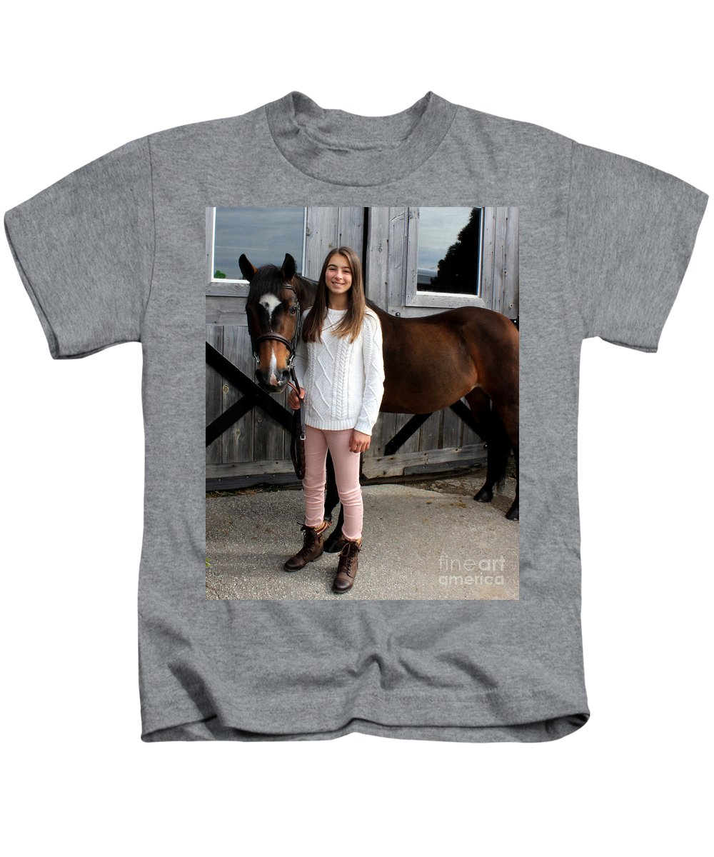 Kids T-Shirt featuring the photograph Leanna Abbey 7 by Life With Horses