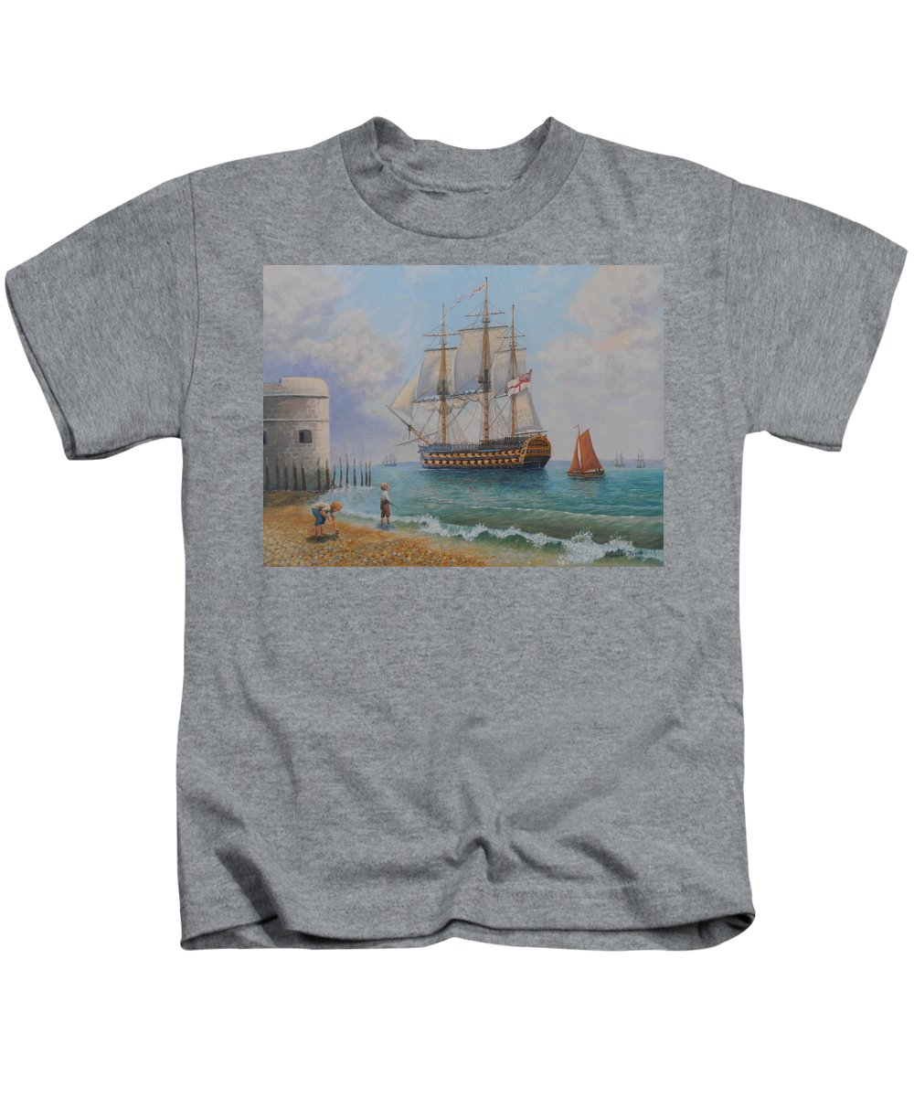 Oil Paintings Kids T-Shirt featuring the painting Leaving Portsmouth Harbour by Elaine Jones