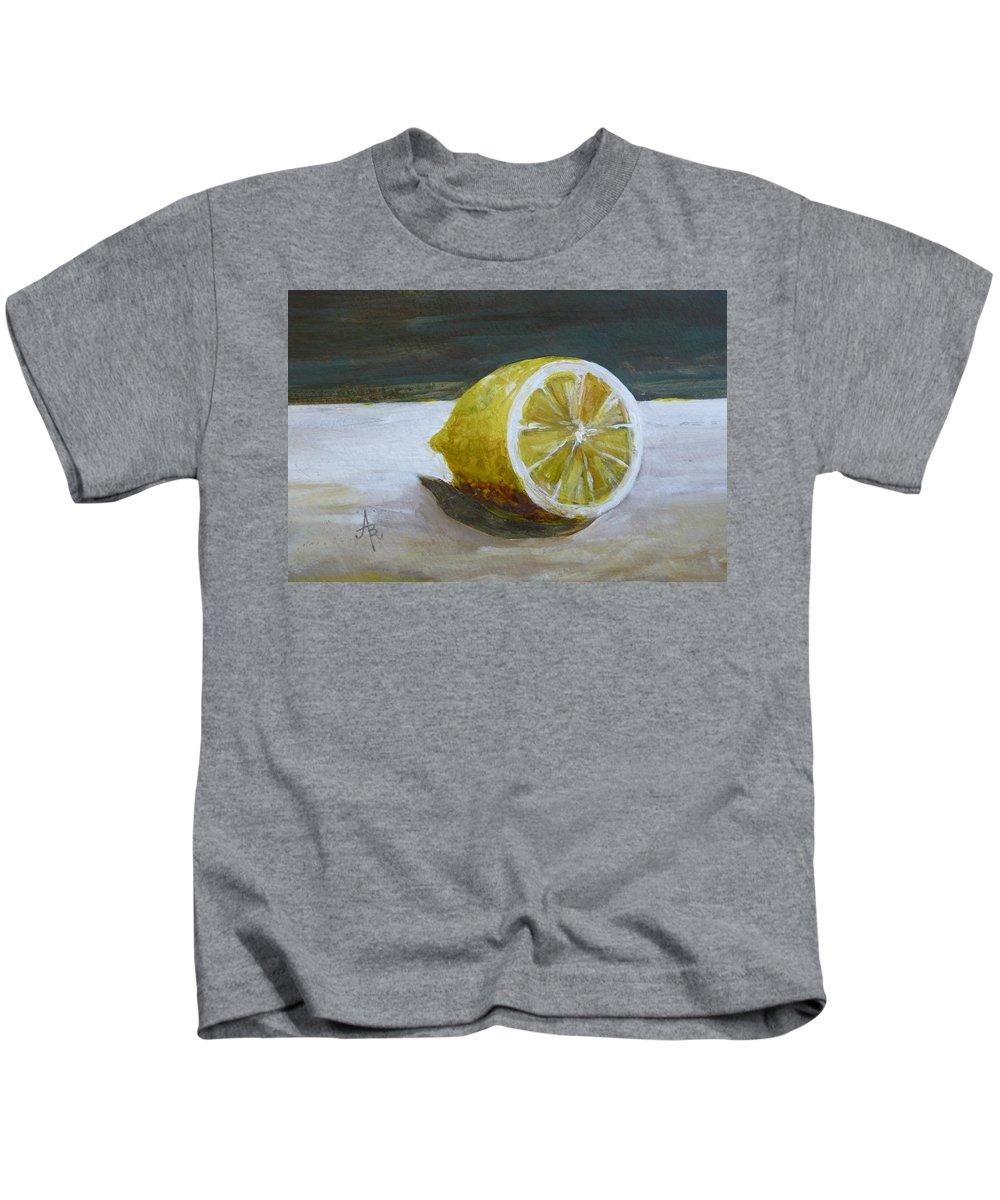 Lemon Kids T-Shirt featuring the painting Lemon by Anna Ruzsan