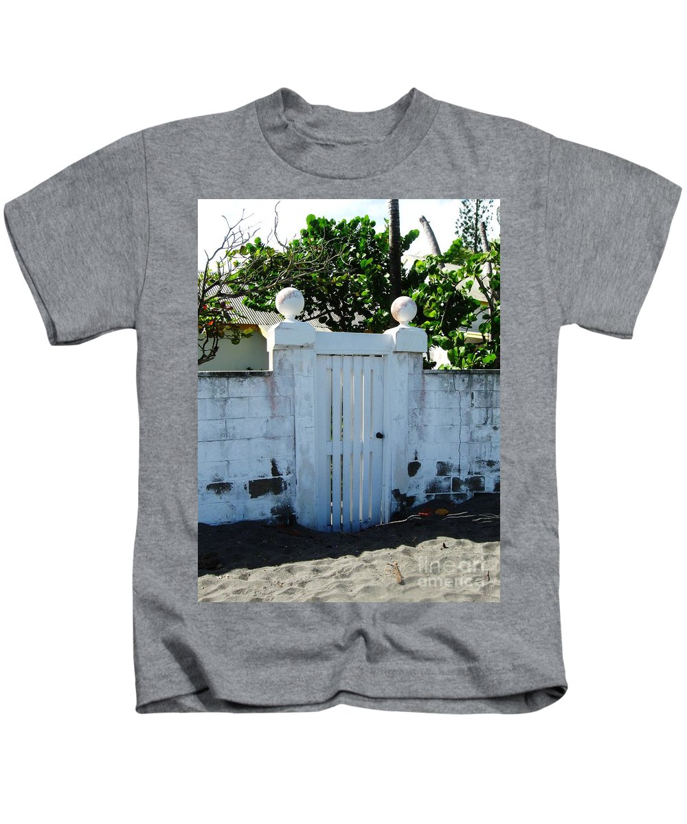 Gate Kids T-Shirt featuring the photograph Lemon Tree Gate by Janell R Colburn