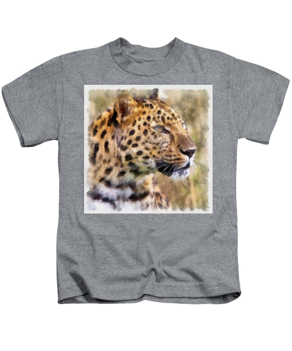 Aquarell Kids T-Shirt featuring the photograph Leopard 7 by Ingrid Smith-Johnsen