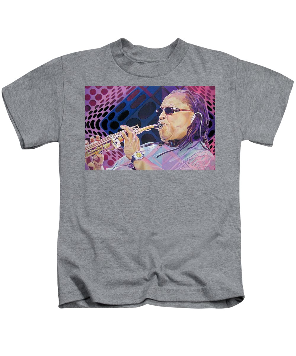 Leroi Moore Kids T-Shirt featuring the drawing Leroi Moore by Joshua Morton