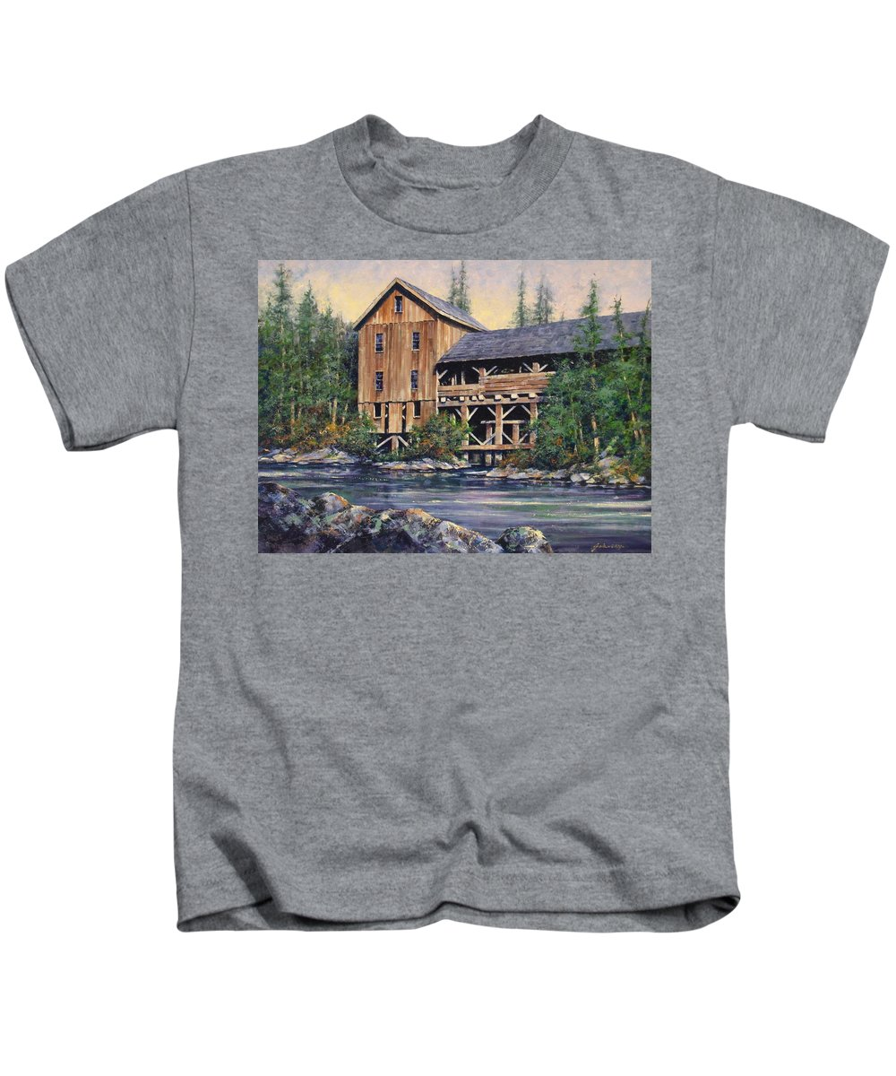 Grist Mills Kids T-Shirt featuring the painting Lewisville Grist Mill Afternoon by Jim Gola