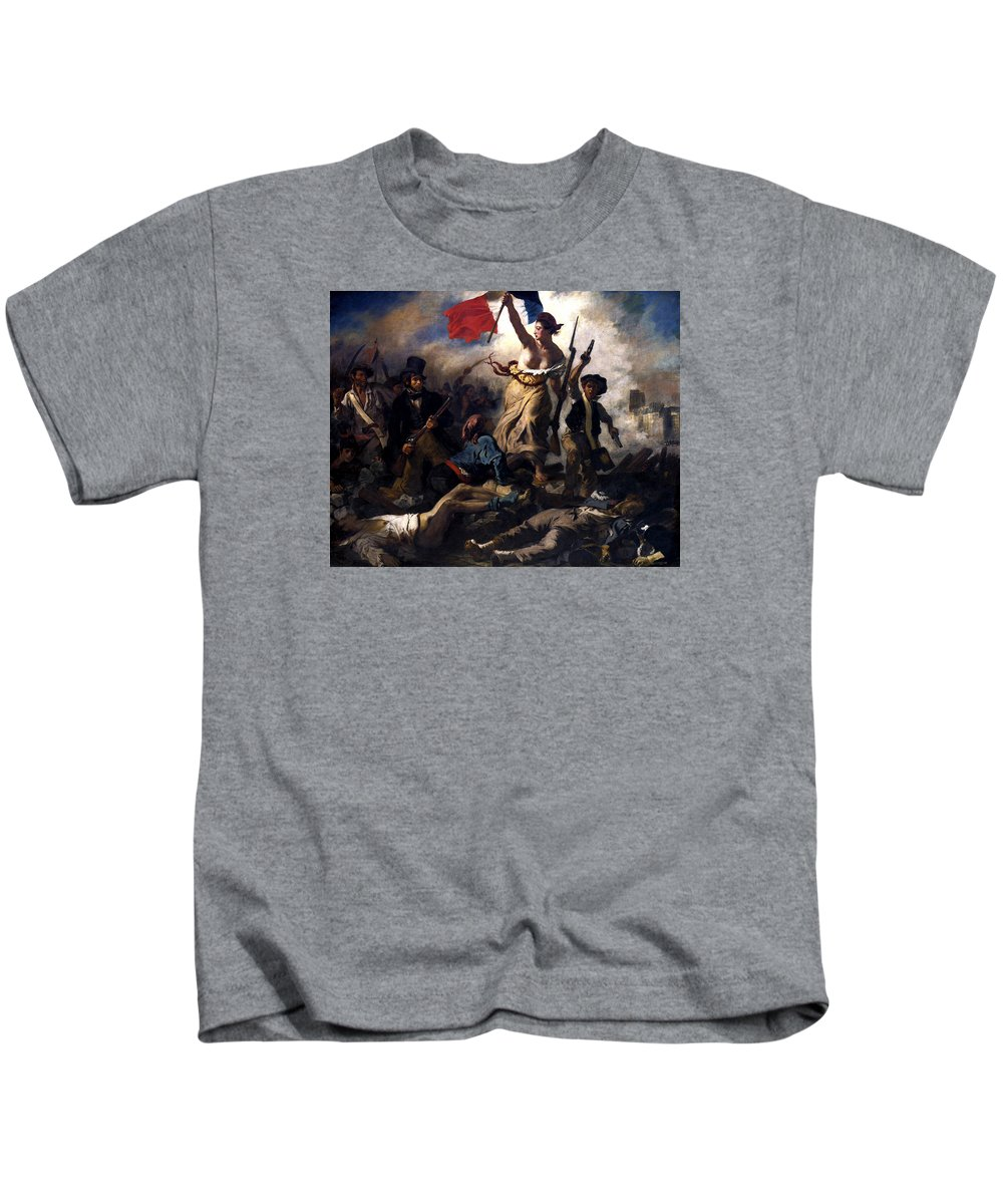 French Revolution Kids T-Shirt featuring the painting Liberty Leading The People During The French Revolution by War Is Hell Store