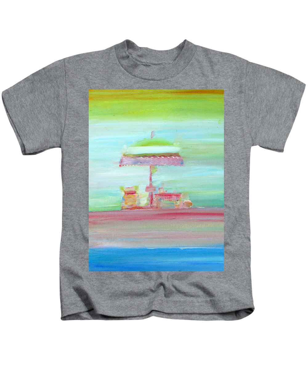 Beach Kids T-Shirt featuring the painting Life On The Beach by Fabrizio Cassetta