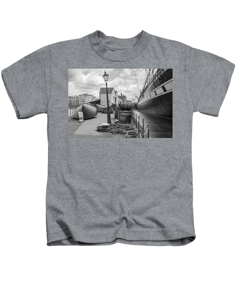 Ship Kids T-Shirt featuring the photograph Light Of The Dock by Mair Hunt
