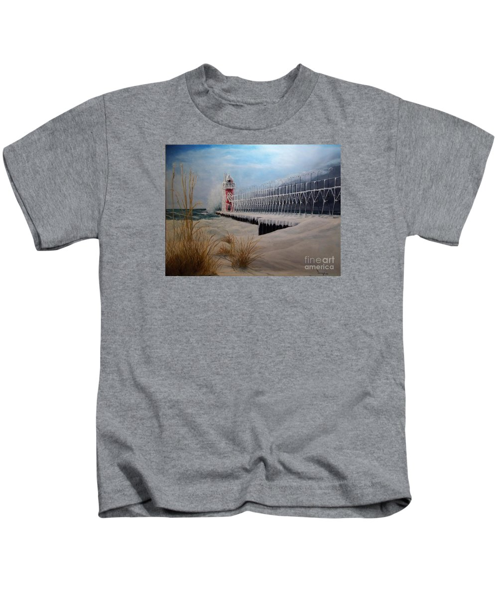 Seascape Kids T-Shirt featuring the painting South Haven Mi Lighthouse In Four Seasons-winter by Michael John Cavanagh