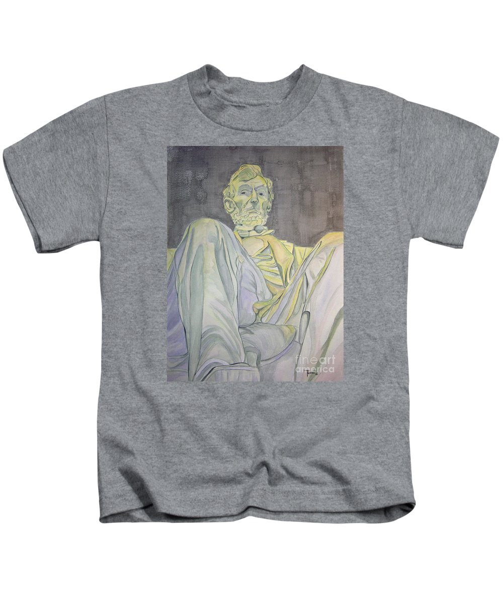 Presidents Kids T-Shirt featuring the painting Lincoln by Regan J Smith