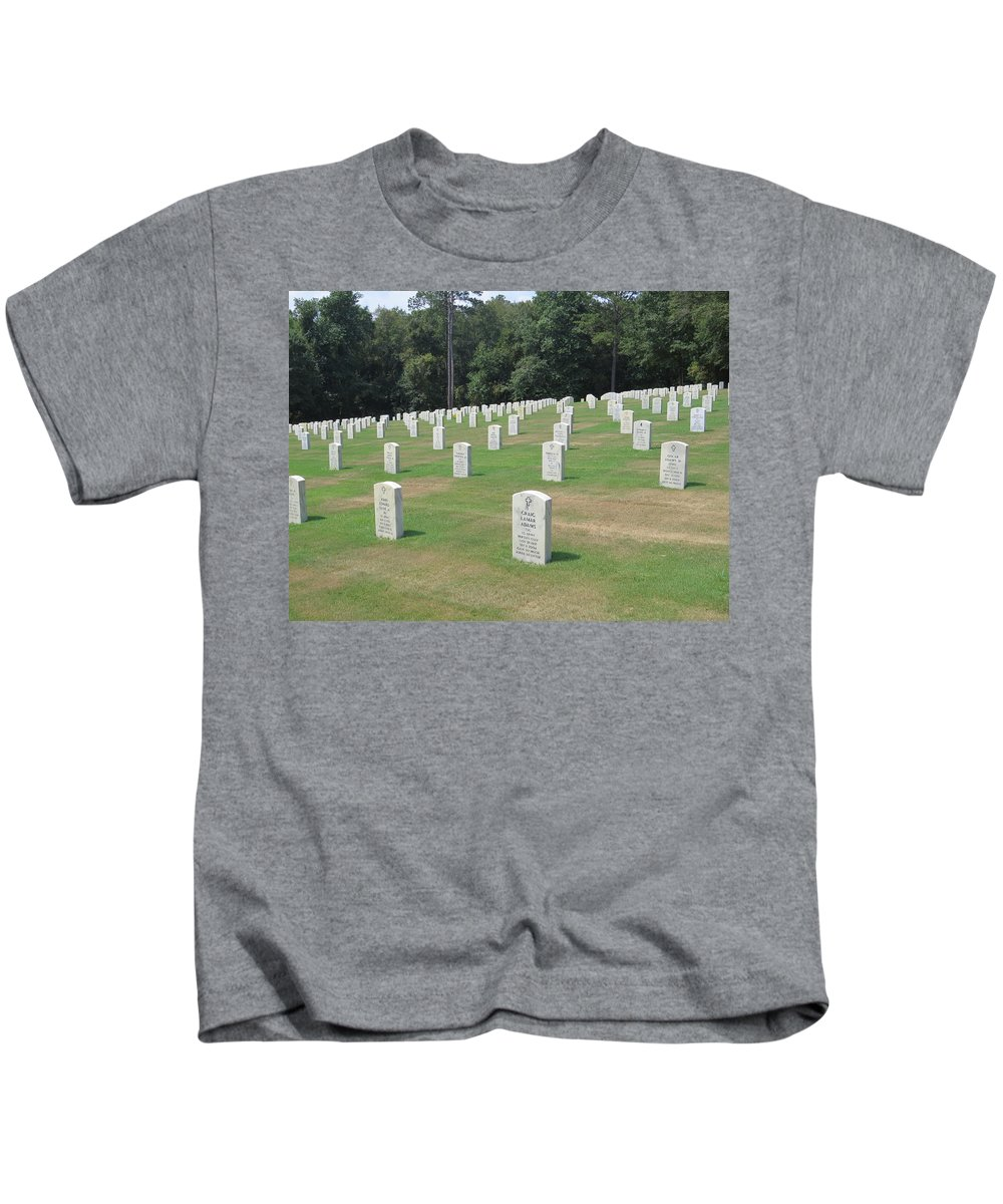 Armed Forces Kids T-Shirt featuring the photograph Line Of Heros by Aaron Martens