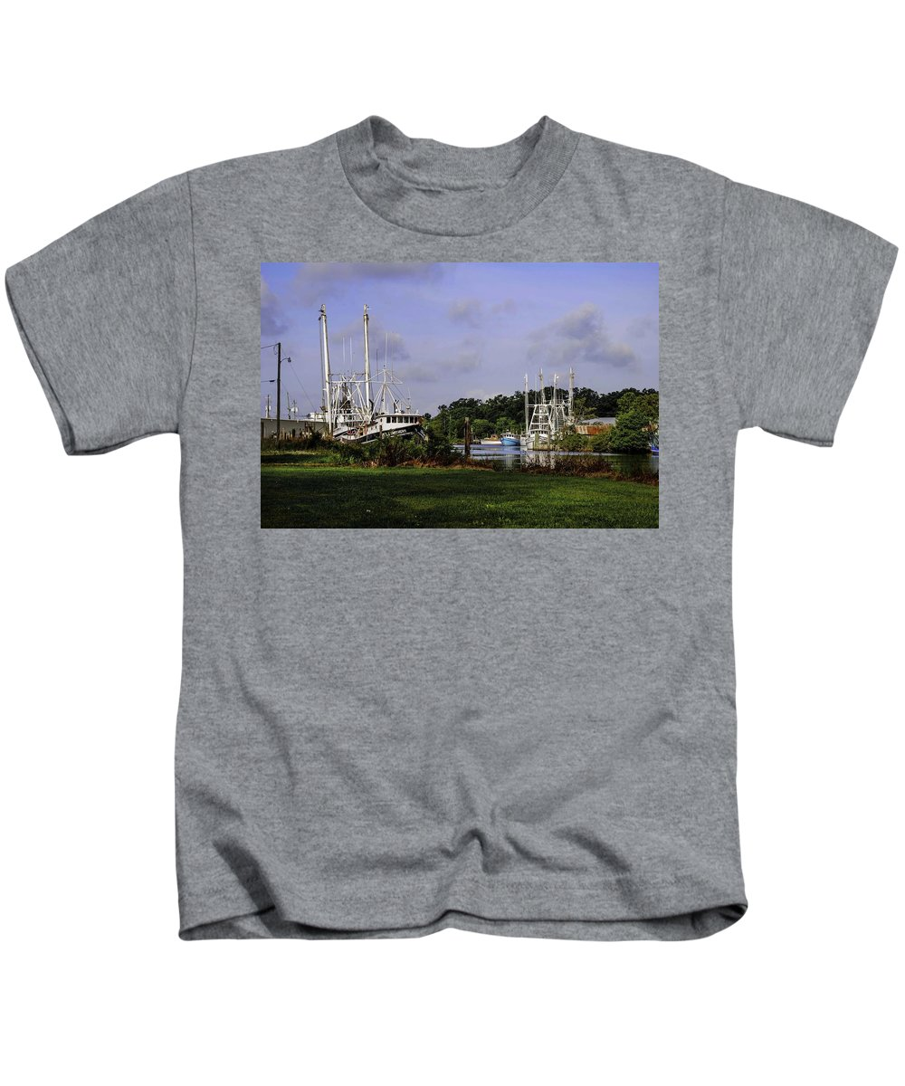 Alabama Kids T-Shirt featuring the digital art Little Brothers And Miss Edie by Michael Thomas