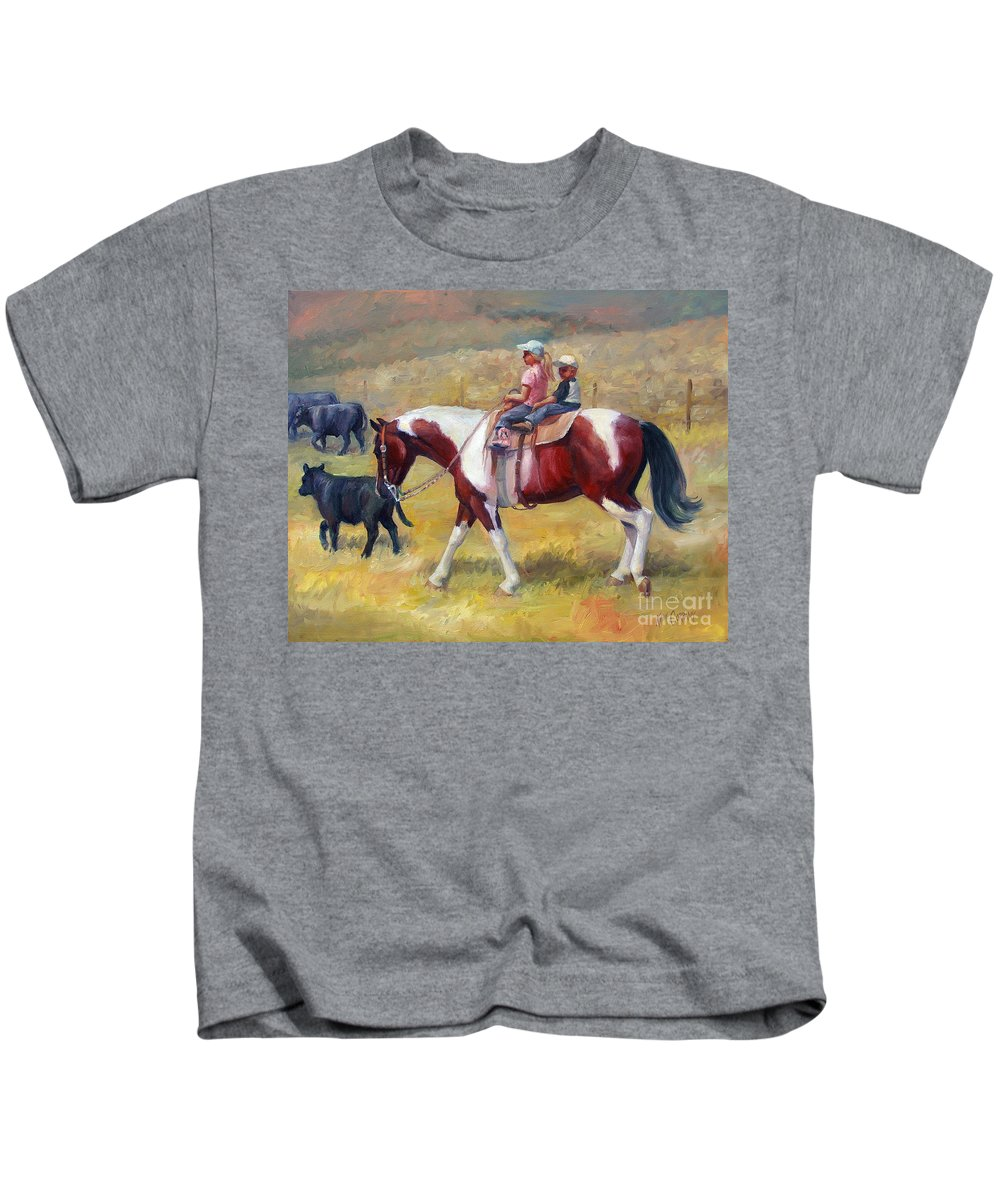 Horse Kids T-Shirt featuring the painting Little Cowboys Of Ruby Valley Western Art Cowboy Painting by Kim Corpany