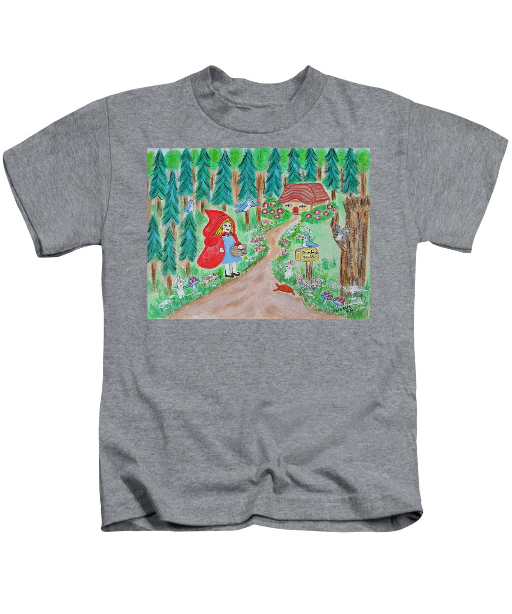 Little Red Riding Hood Kids T-Shirt featuring the painting Little Red Riding Hood With Grandma's House On Mailbox by Diane Pape