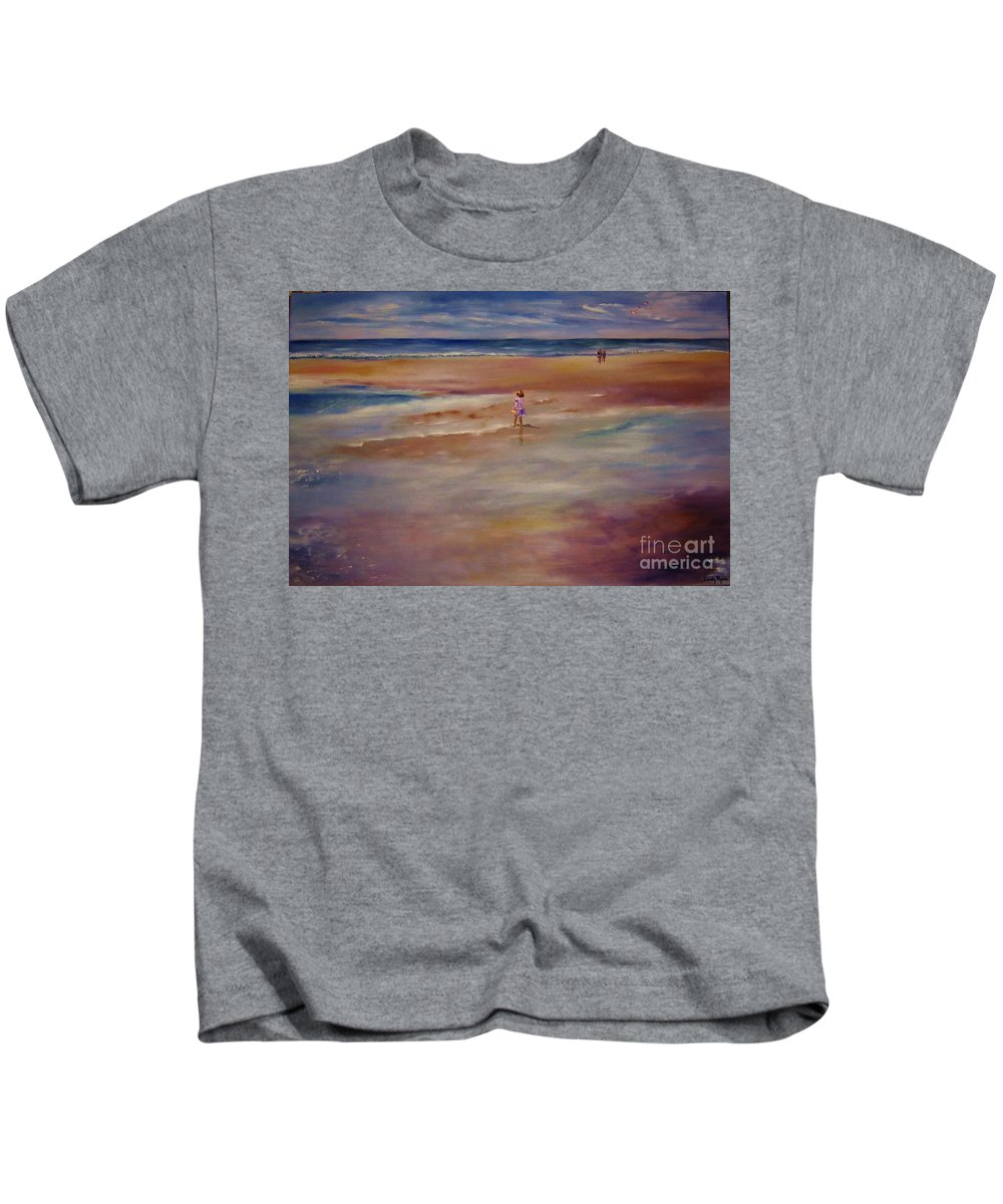 Child Kids T-Shirt featuring the painting Little Wanderer by Sandy Ryan