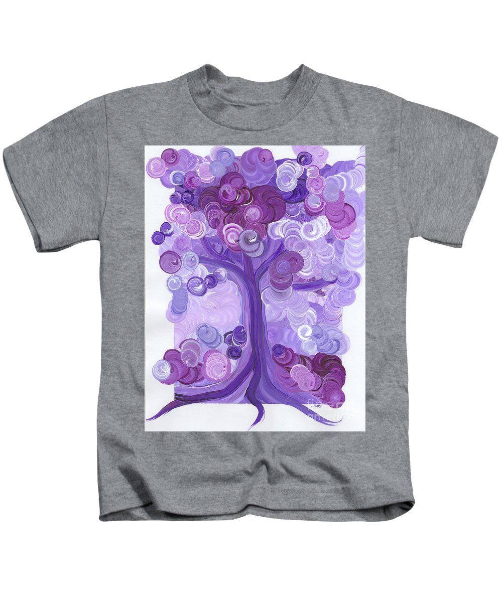 First Star Kids T-Shirt featuring the painting Liz Dixon's Tree Purple by First Star Art