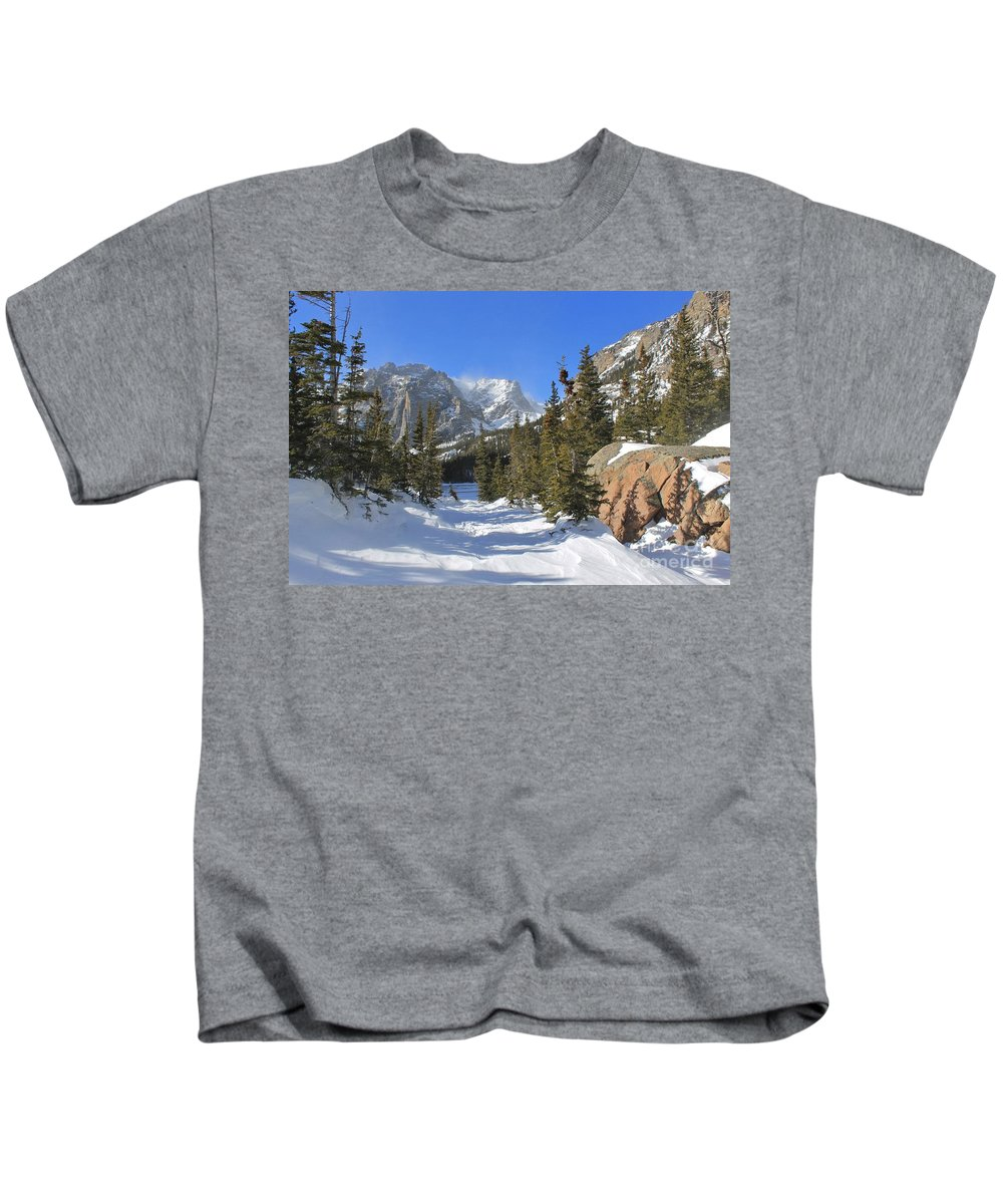 Winter Kids T-Shirt featuring the photograph Loch Vale Winter by Tonya Hance