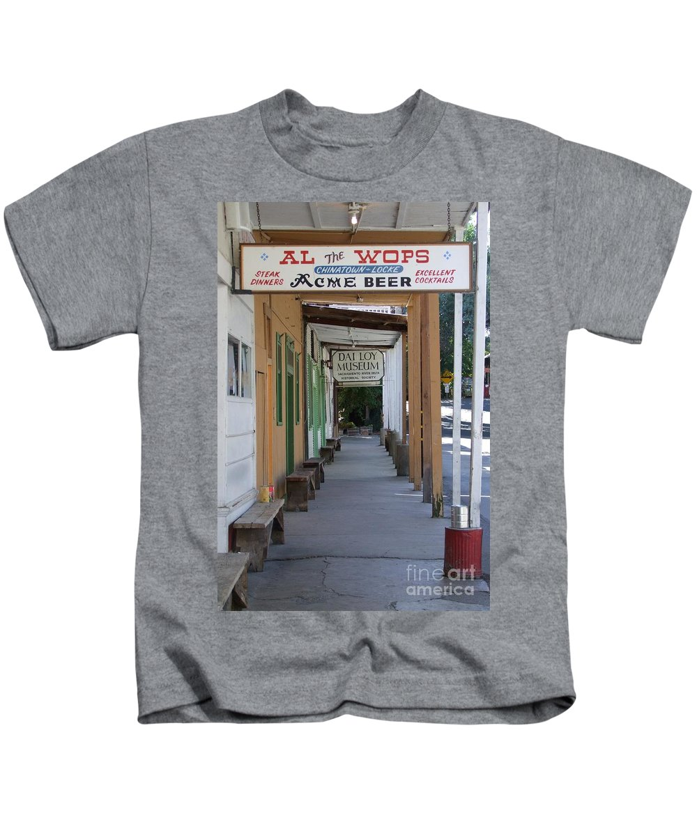 Al The Wops Kids T-Shirt featuring the photograph Locke Chinatown Series - Main Street - 7 by Mary Deal