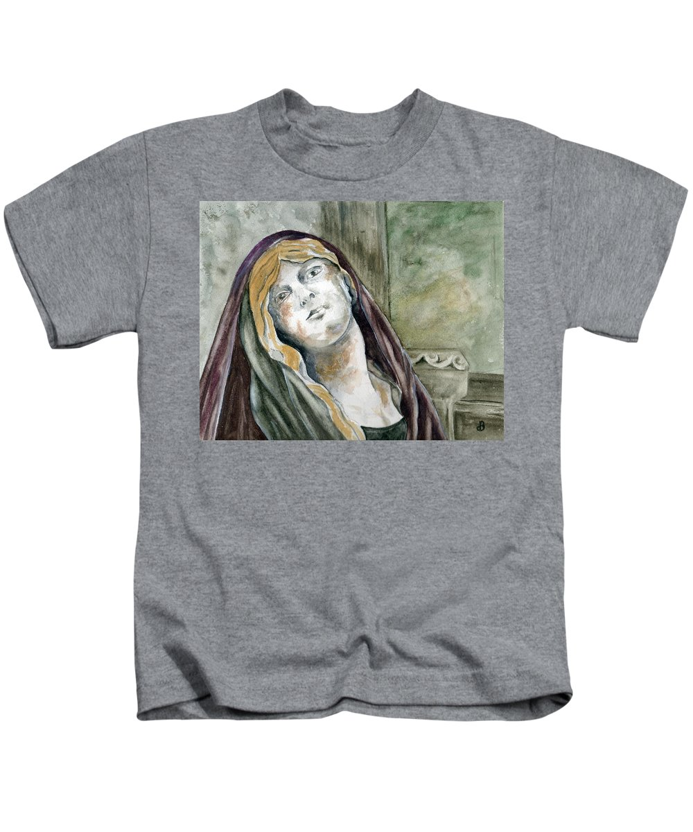Portrait Kids T-Shirt featuring the painting Longing by Brenda Owen
