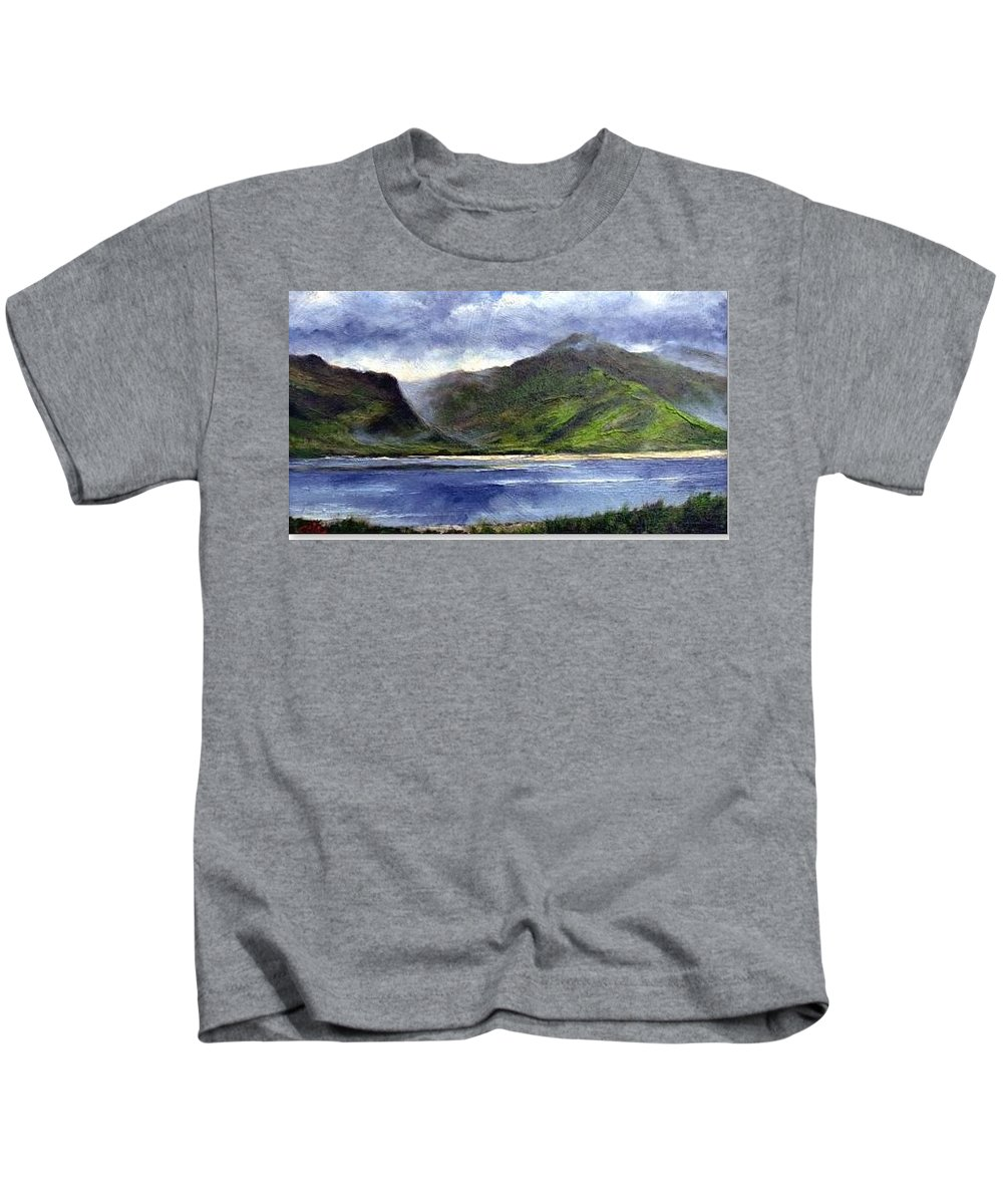 Irish Kids T-Shirt featuring the painting Loughros Bay Ireland by Jim Gola
