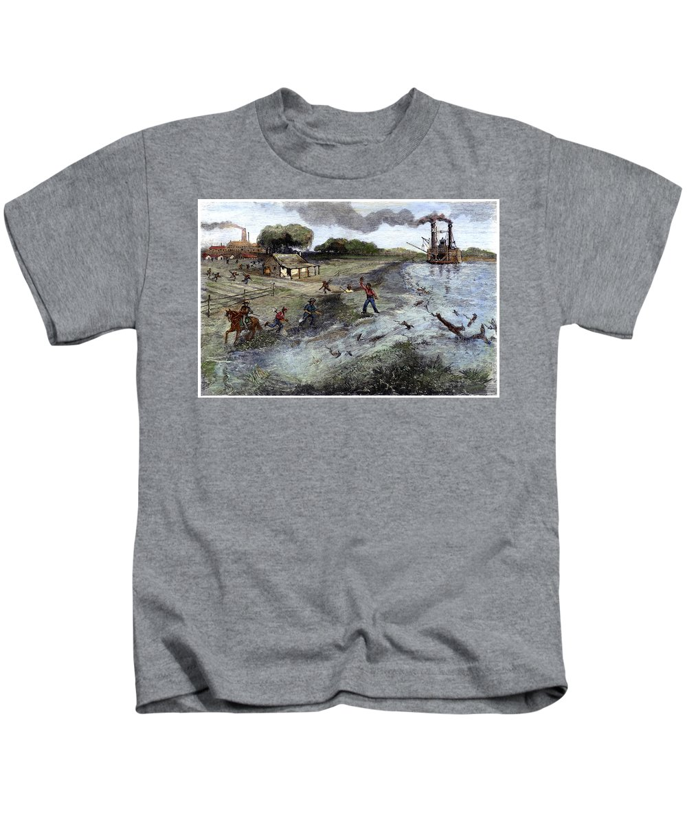 1884 Kids T-Shirt featuring the painting Louisiana Broken Levee by Granger