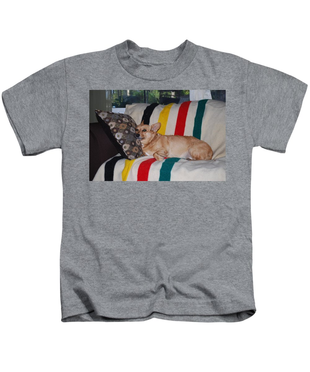 That's Comfort Dog Kids T-Shirt featuring the photograph Love My Pillow Dad by Robert Floyd