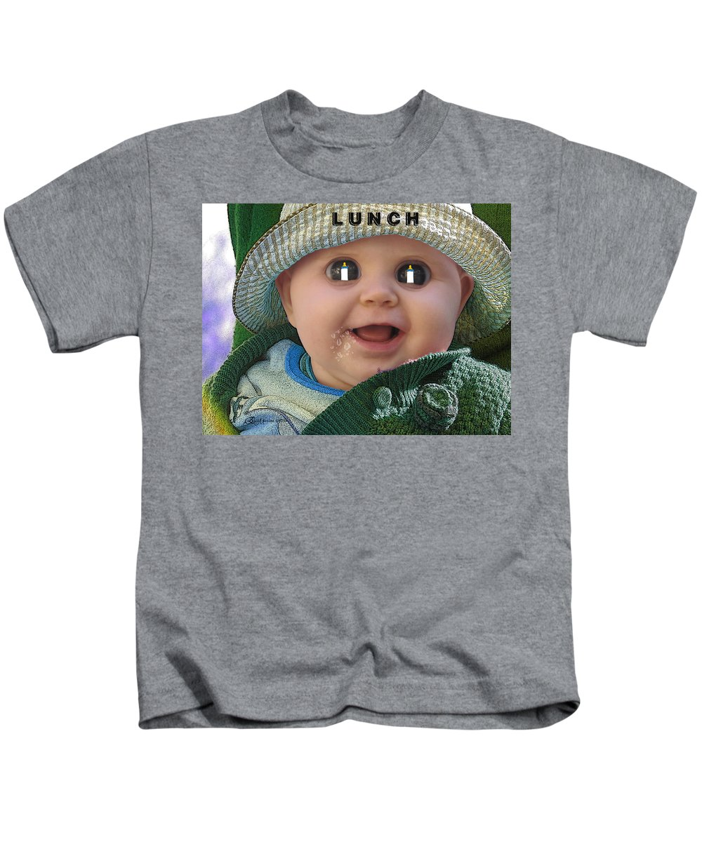 Child Kids T-Shirt featuring the photograph Lunch by Ericamaxine Price
