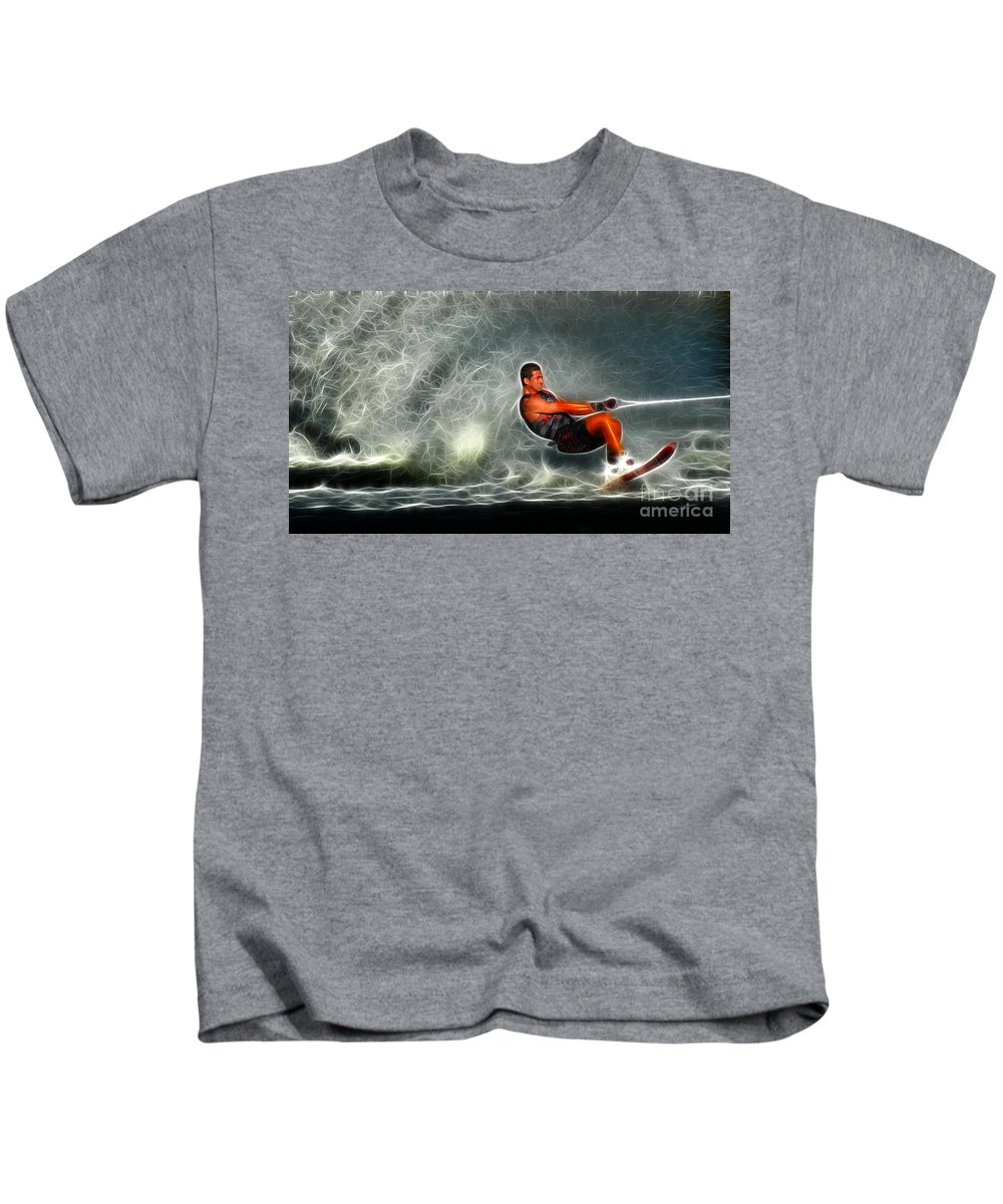 Waterskiing Kids T-Shirt featuring the photograph Water Skiing Magical Waters 2 by Bob Christopher
