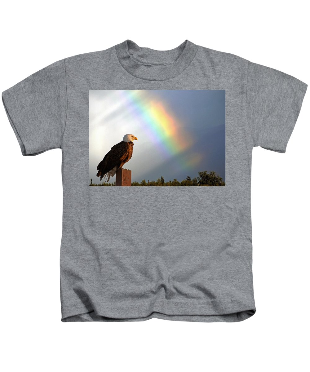 Eagle Kids T-Shirt featuring the photograph Magnificence by Ron Day