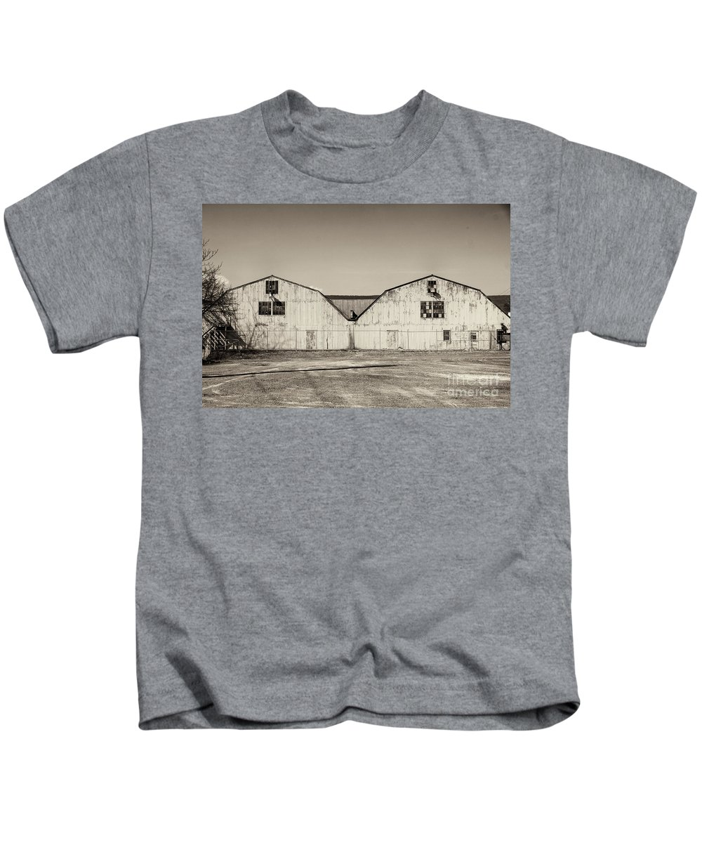 Black And White Kids T-Shirt featuring the photograph Maintanence Barns by Jay Ressler