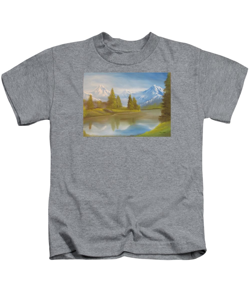 Mountains Kids T-Shirt featuring the painting Majestic Mountains by Dawn Nickel
